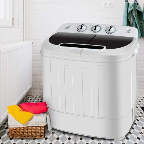 SUPER DEAL Portable Compact Mini Twin Tub Washing Machine