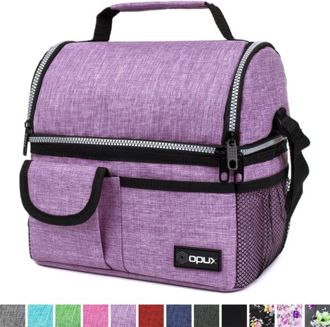 OPUX Insulated Dual Compartment Lunch Bag for Women