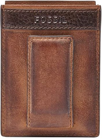 Fossil Men's Quinn Leather Magnetic Card Case Wallet