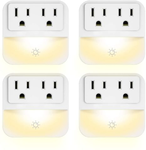 Plug-in Night Light with 2-Outlet Extender
